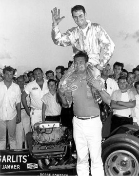 Buster Couch lifts up Don Garlits after Don ran Florida's first 200 mph pass. Photo by Jim Hill.jpg